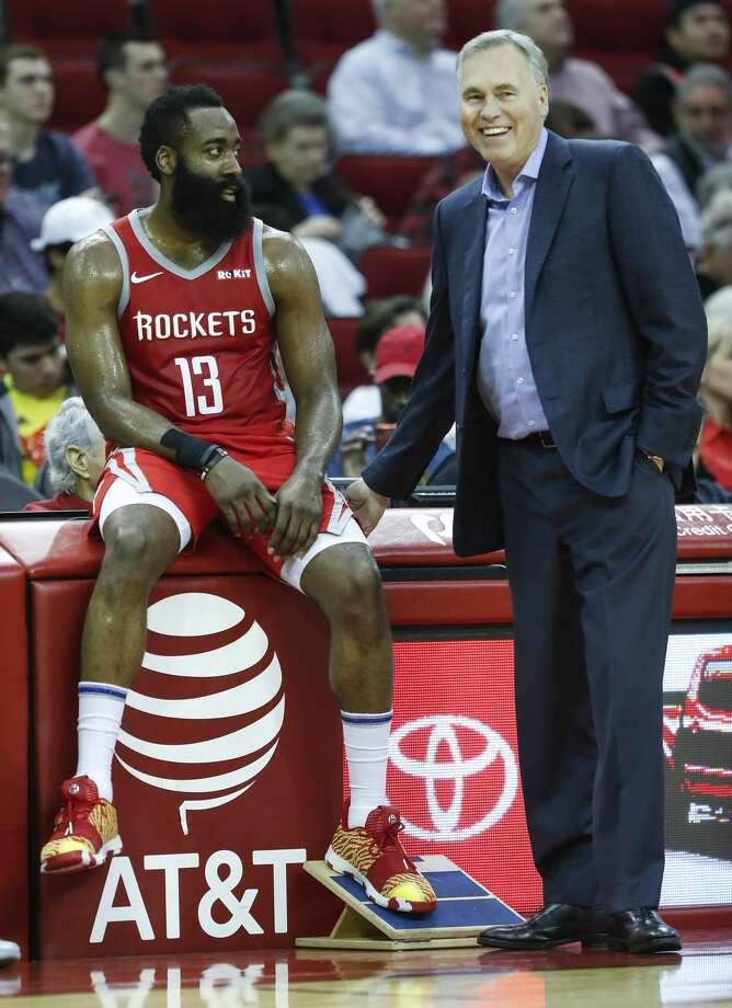 9b767d00a02d Houston Rockets guard James Harden (13) and Rockets head coach Mike D Antoni