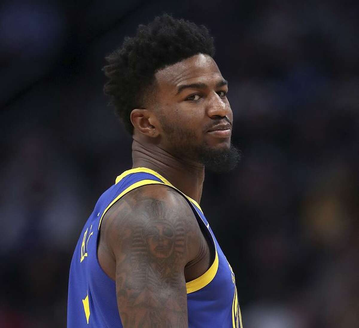 Jordan Bell #2 of the Golden State Warriors plays the Denver Nuggets at the Pepsi Center on January 15, 2019 in Denver, Colorado.