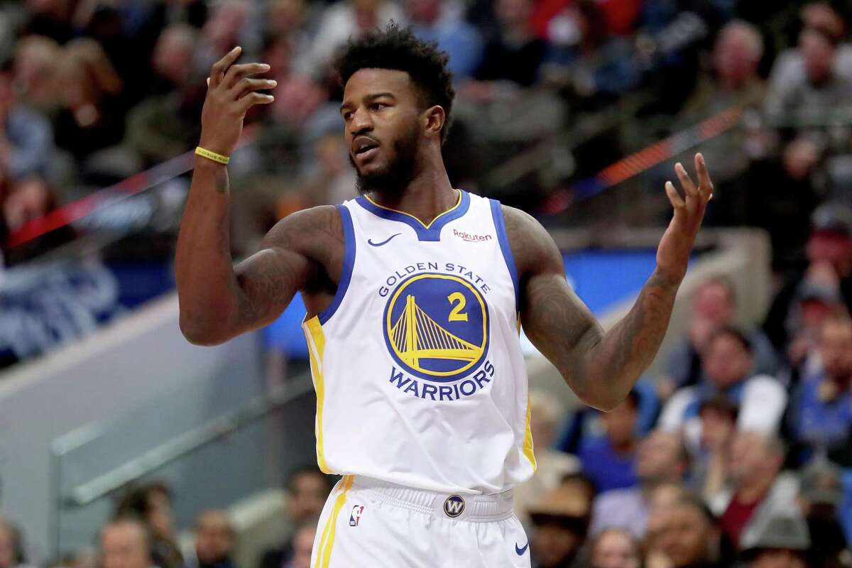Jordan Bell #2 of the Golden State Warriors reacts to a call in the second half against the Dallas Mavericks at American Airlines Center on November 17, 2018 in Dallas, Texas.