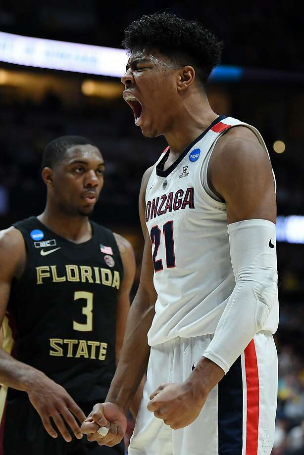 ANAHEIM, CALIFORNIA - MARCH 28: Rui Hachimura #21 of the Gonzaga Bulldogs celebrates after a dunk against Mfiondu Kabengele #25 of the Florida State Seminoles during the 2019 NCAA Men's Basketball Tournament West Regional at Honda Center on March 28, 2019 in Anaheim, California. (Harry How/Getty Images/TNS) Photo: Harry How, TNS