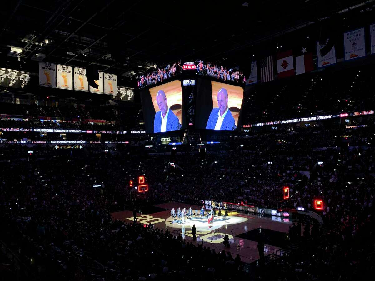 San Antonio Spurs legend Manu Ginoboli is seen onscreen during his number retirement on Thursday night, March 28, 2019, after the Spurs game against the Cleveland Cavaliers. Ginobili played for the Spurs from 2002-2018.