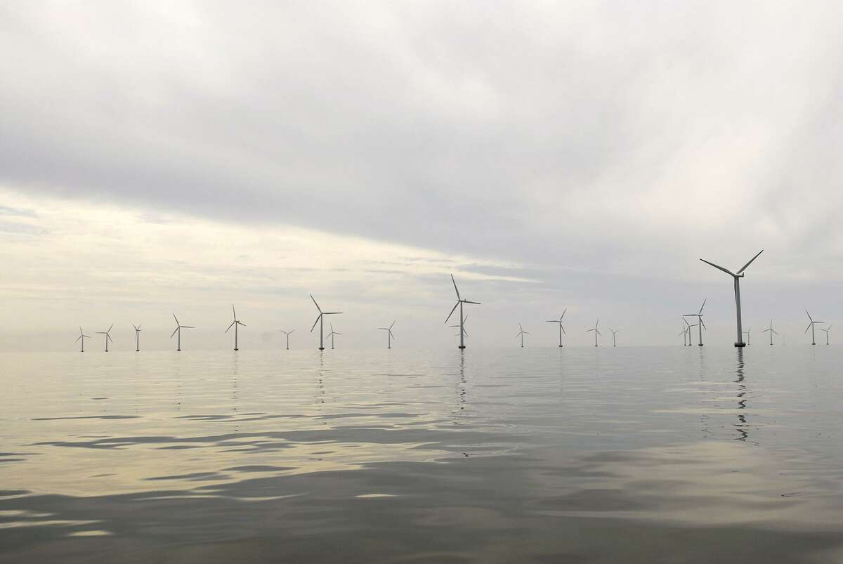 This undated handout photo provided by Bluewater Wind shows the Nysted Offshore Wind Farm in Denmark.