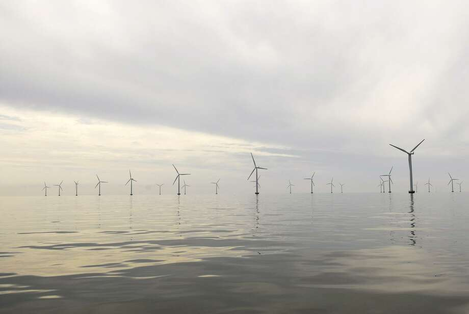 This undated handout photo provided by Bluewater Wind shows the Nysted Offshore Wind Farm in Denmark. Photo: Bluewater Wind / Associated Press / Bluewater Wind