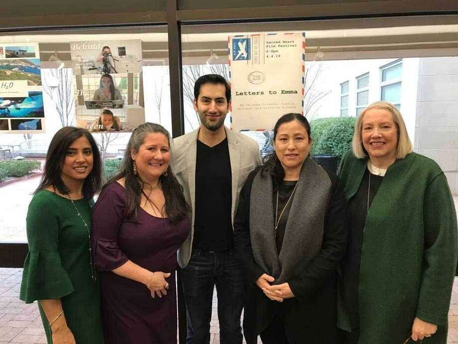 Greenwich Youth Film Festival co-chairs Bharti Chojar and Meg McAuley Kaicher with filmmaker/actor Kabir Chopra, Greenwich Arts Council Executive Director Tatiana Mori and Greenwich Arts Council Board President Laura Cunningham. Photo: Contributed