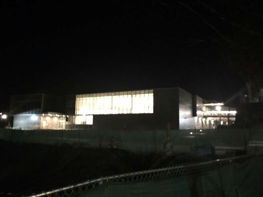 The lights at the new New Lebanon School, which opened in February, have been on through the night for the last few weeks. Electricians and engineers are working to fix the problem by or during April break. Photo: Contributed Photo