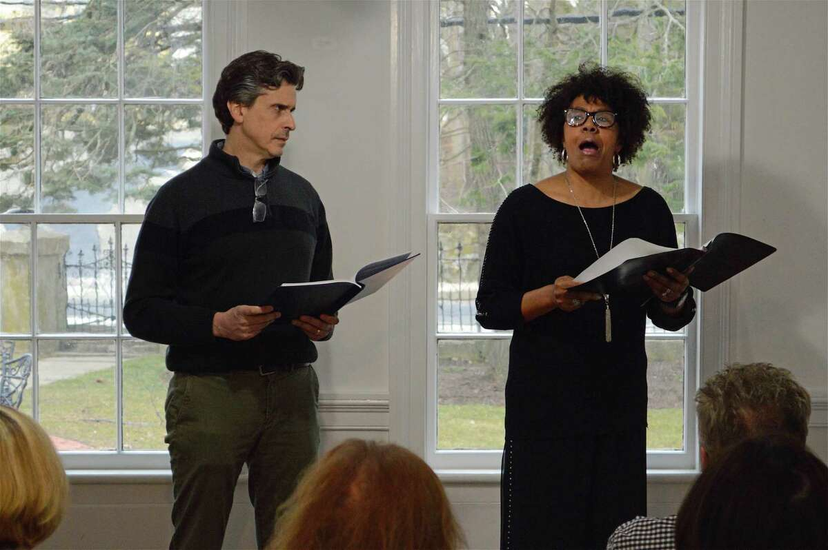 """Actors Greg Porretta and Kimberly Wilson did a historic dialogue based on letters of Thomas Dew and Sojourner Truth at the Westport History Society's """"Saugatuck Social"""" on Thursday, March 28, 2019, in Westport, Conn."""