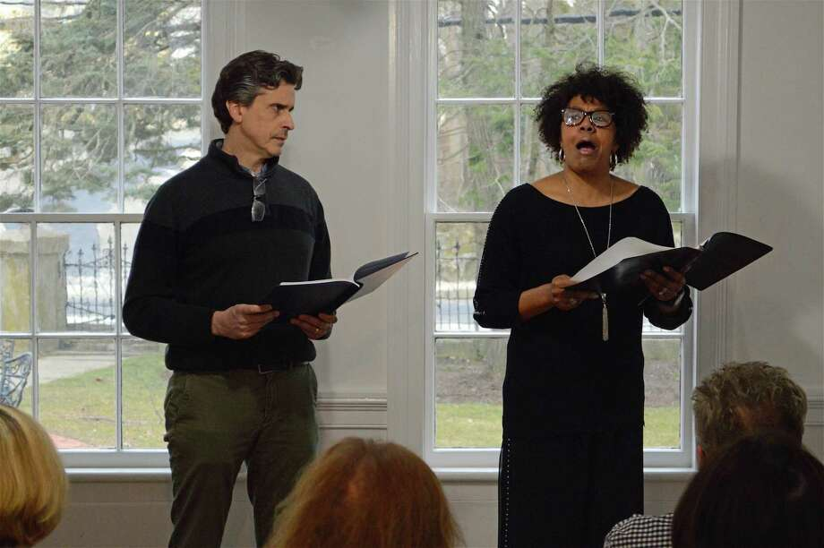 """Actors Greg Porretta and Kimberly Wilson did a historic dialogue based on letters of Thomas Dew and Sojourner Truth at the Westport History Society's """"Saugatuck Social"""" on Thursday, March 28, 2019, in Westport, Conn. Photo: Jarret Liotta / For Hearst Connecticut Media / Westport News Freelance"""