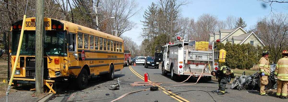 An 82-year-old woman crashed head-on into a school bus on Newfield Avenue early Thursday afternoon. The woman was seriously injured. The bus driver and a high school age student were not injured.