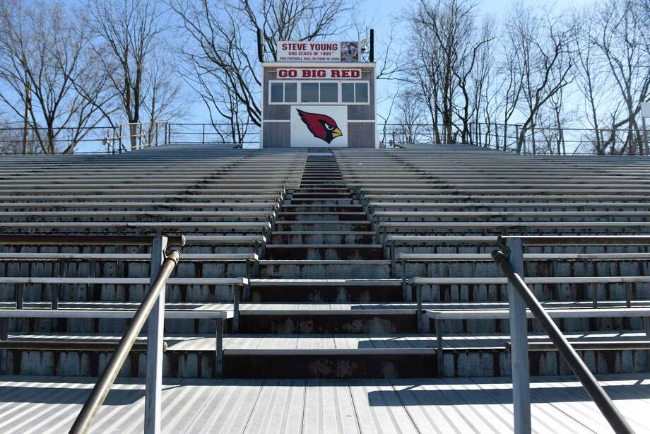 The bleachers at Greenwich High School's Cardinal Stadium in Greenwich, Conn., photographed on Wednesday, March 26, 2019. The bleachers are in need of replacement. Photo: Tyler Sizemore / Hearst Connecticut Media / Greenwich Time