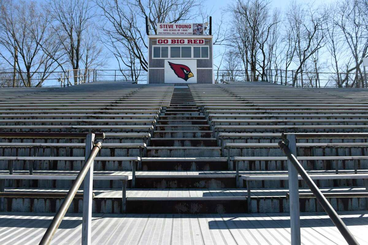 The bleachers at Greenwich High School's Cardinal Stadium in Greenwich, Conn., photographed on Wednesday, March 26, 2019. The bleachers are in need of replacement and the school board proposed a $3.8 million request and a plan for a three-phase project. The Budget Committee had recommended lowering the BOE's initial $8 million request for a two-year stadium project to just $1.3 million to fix only the bleachers.
