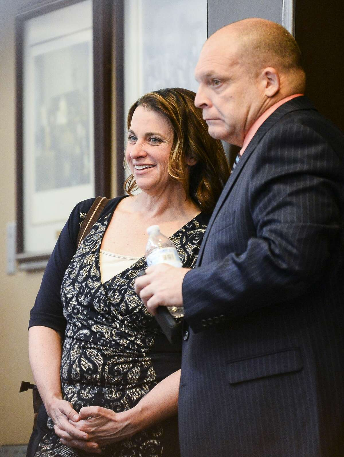 Kelly Daws with her defense attorney, Glen Crocker. After Daws was convicted and sentenced to 12 years in prison for conspiracy to have her estranged husband killed in 2016, Crocker filed a notice of appeal. Photo taken on Thursday, 03/28/19. Ryan Welch/The Enterprise