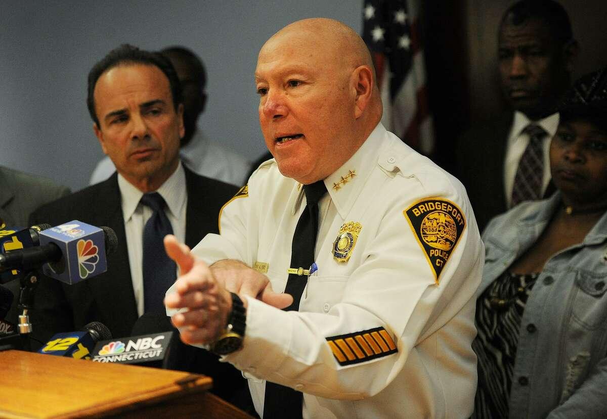 File photo of Bridgeport Police Chief Armando Perez and Bridgeport Mayor Joe Ganim.