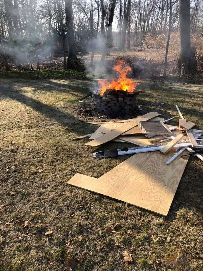 Construction debris being burned at a private residence in Brookfield on March 28, 2019. Photo: Brookfield Volunteer Fire Company