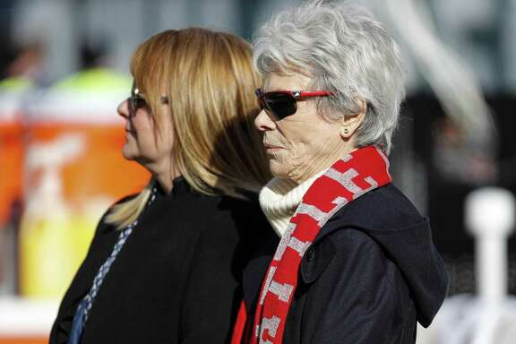 Houston Texans owner Janice McNair, right, stands with her daughter, Melissa, as they watch warm ups before an NFL football game against the Philadelphia Eagles at Lincoln Financial Field on Sunday, Dec. 23, 2018, in Philadelphia.