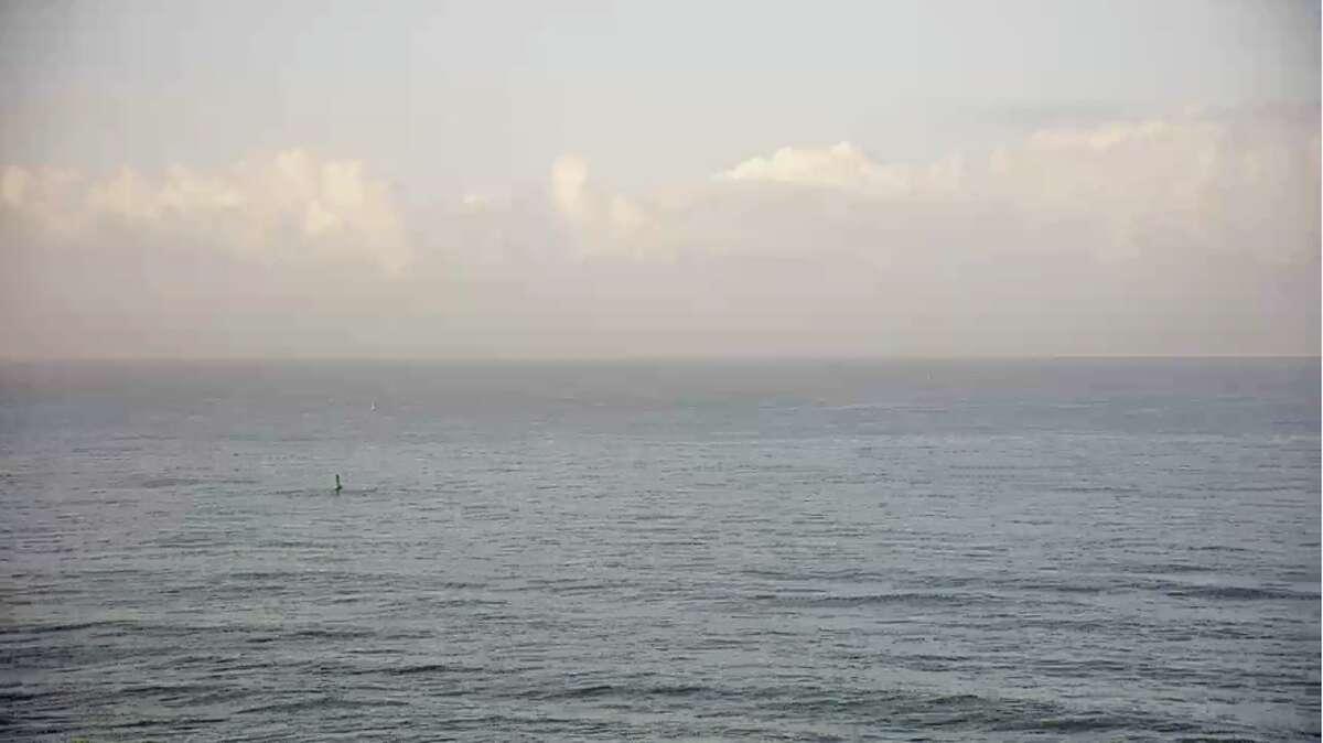 The Surfline webcam showed flat conditions at Mavericks on March 29, 2019.
