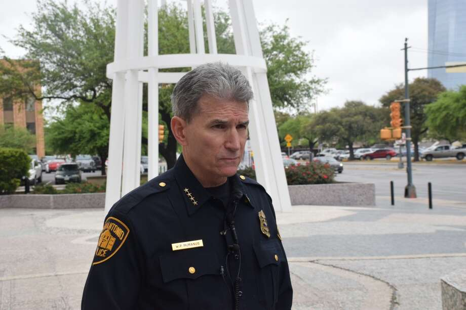 San Antonio Police Chief William McManus speaks on Friday, March 29, 2019, about the fatal shooting of a chase suspect by an officer. Photo: Caleb Downs