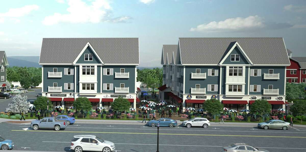 A rendering of the Brookfield Village buildings, which will soon be constructed on Federal Road.