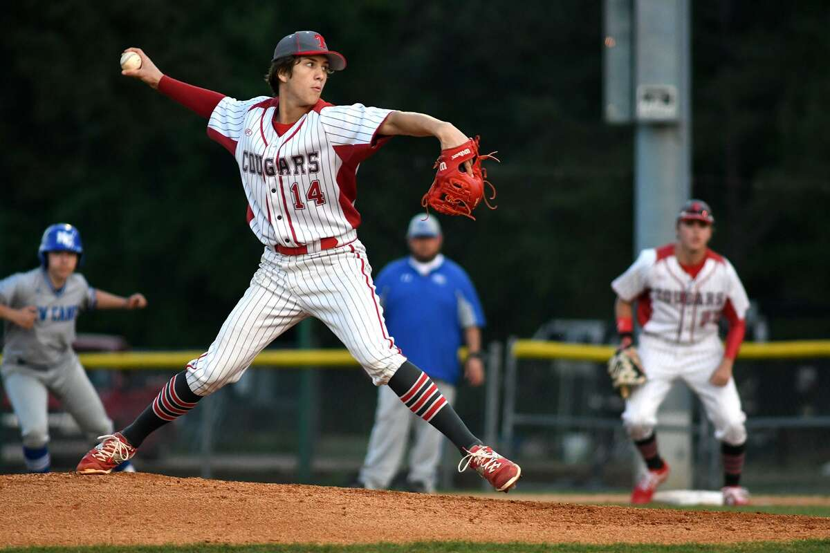 Tomball sophomore pitcher Mason Marriott works to a New Caney hitter during the top of the second inning of their District 20-5A matchup at KCHS on March 26, 2019.