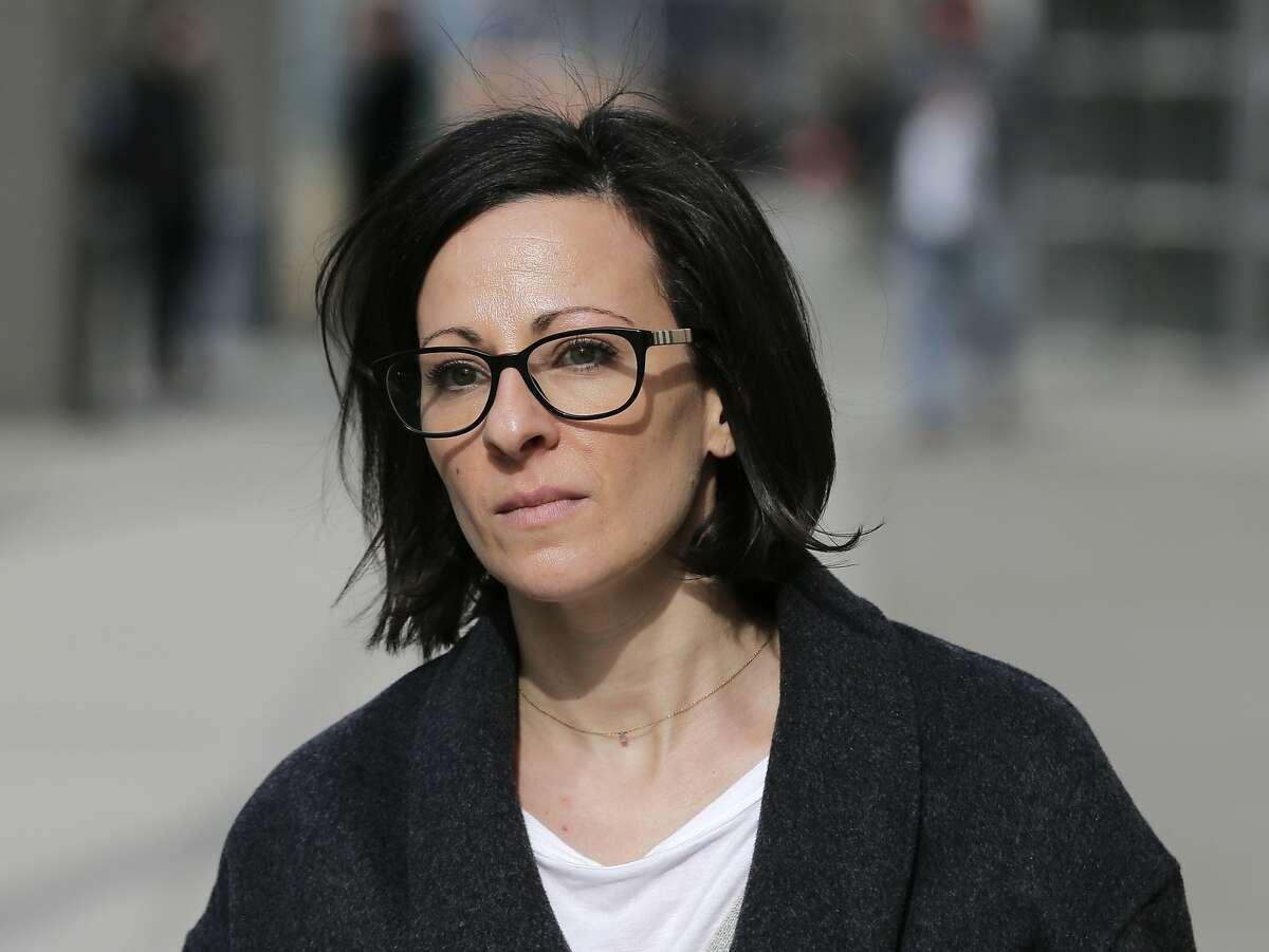 FILE - In this Jan. 28, 2019 file photo, Lauren Salzman leaves Brooklyn federal court in New York.