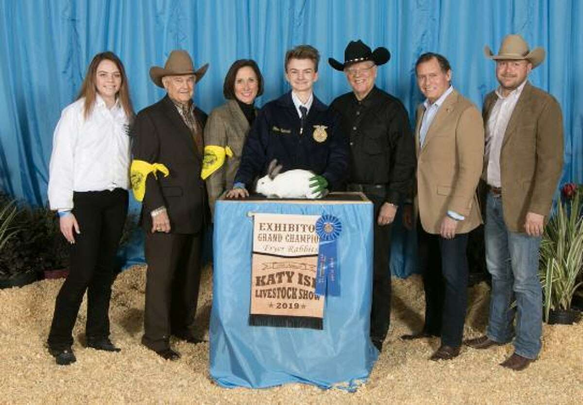 Oliver Semrad raised the grand champion rabbits which sold at the Katy ISD FFA Livestock auction for $7,500.