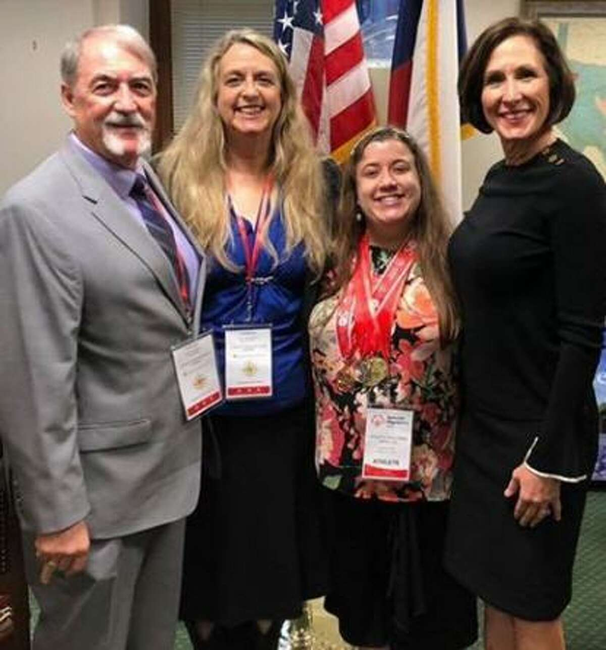 During Special Olympics Texas Capitol Day on March 12 in Austin, Steve, Kari and Shelby Day visited with state Sen. Lois Kolkhorst.