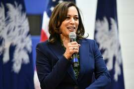 In this Friday, March 8, 2019, photo, U.S. Sen. Kamala Harris, D-California, speaks at a town hall gathering in Hemingway, S.C. On Thursday, March 28, 2019, Harris announced a slate of backers for her presidential campaign in this early-voting state, including three state lawmakers. (AP Photo/Meg Kinnard)