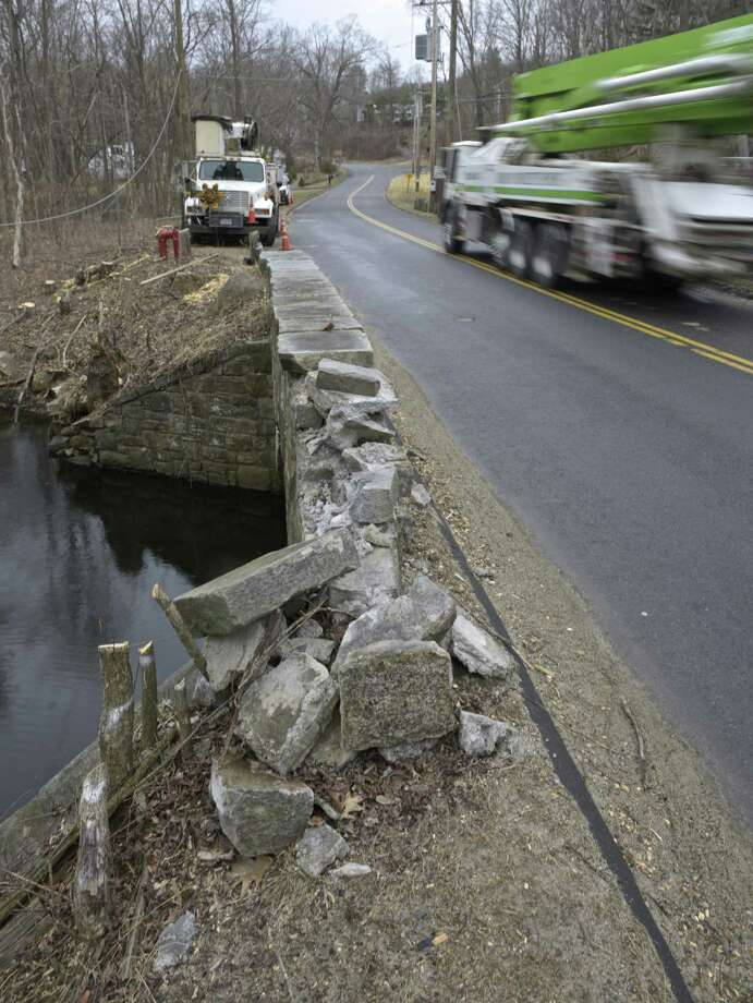The Saw Mill Road bridge over Ball Pond Brook will be closing for months so it can be replaced. The bridge was originally built in 1929 and has been declared functionally obsolete by DOT. Friday, March 29, 2019, in New Fairfield, Conn. Photo: H John Voorhees III / Hearst Connecticut Media / The News-Times