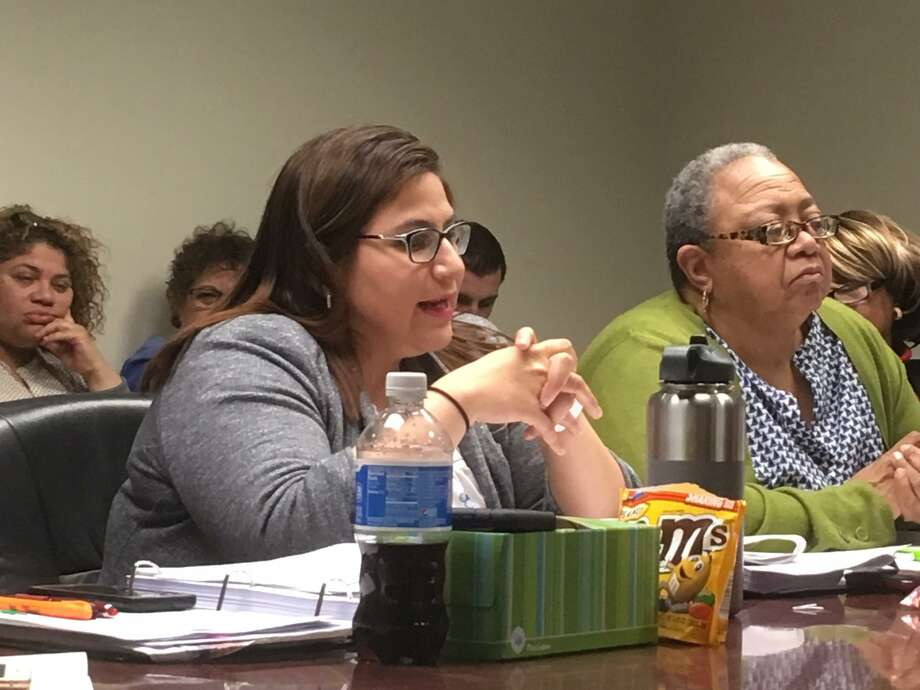 Bridgeport City Council budget co-chairs Maria Zambrano Viggiano and Denese Taylor-Moye listen to the city school district budget plan on Wednesday, April 18, 2018. Photo: Linda Conner Lambeck
