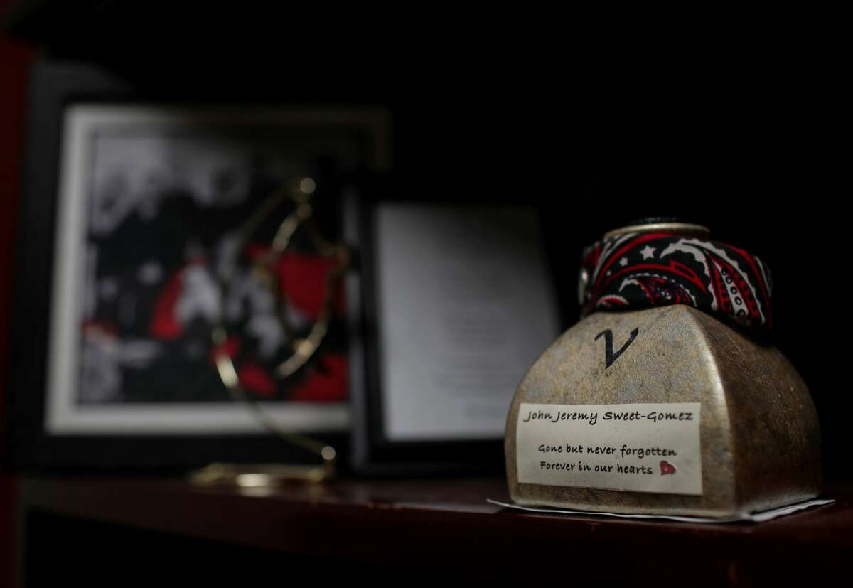 Jeremy Sweet-Gomez's ashes are kept in his father's law office.