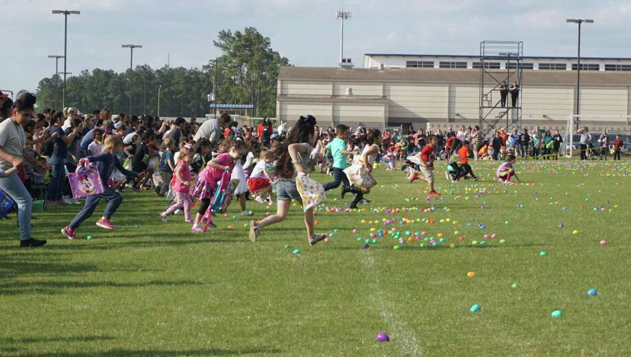The Easter egg hunt at the 2019 Spring Extravaganza on March 28, 2019 in New Caney, TX has approximately 20,000 eggs and is divided into two age groups. Photo: Nguyen Le / Staff Photo