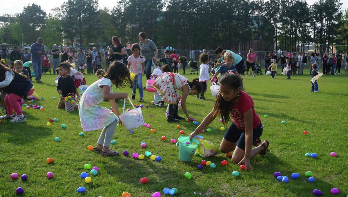 The Easter egg hunt at the 2019 Spring Extravaganza on March 28, 2019 in New Caney, TX has approximately 20,000 eggs and is divided into two age groups.