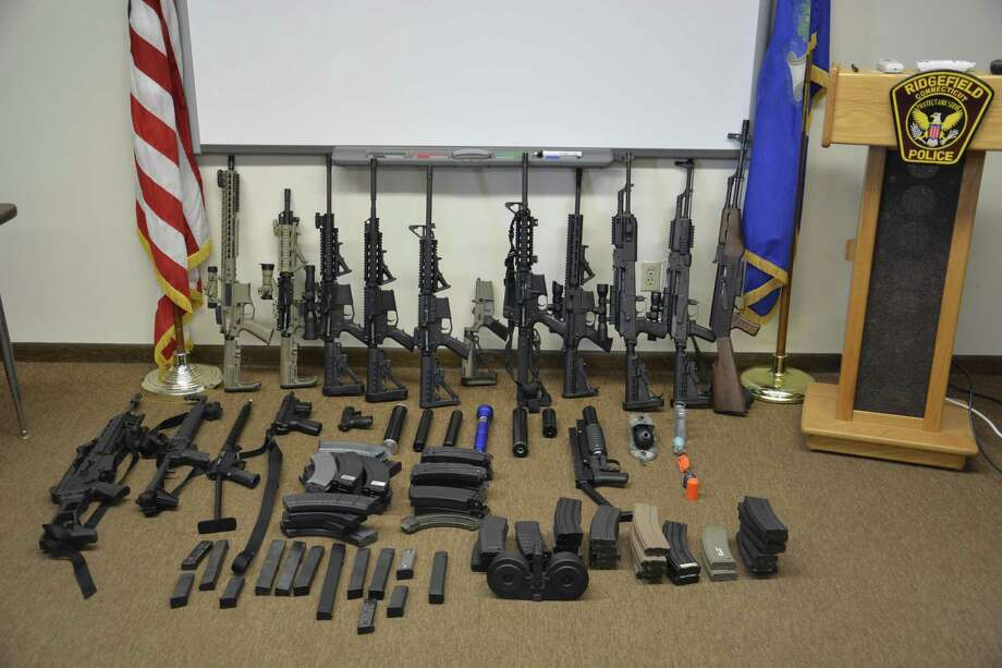 The Ridgefield Police Department seized numerous weapons from a Tackora Trail home on Thursday, March 28. Photo: Capt. Shawn Platt / Contributed Photos
