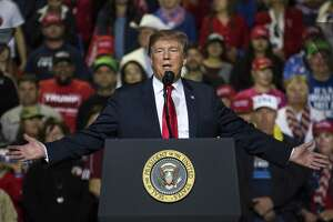 U.S. President Donald Trump speaks during a rally in El Paso, Texas, U.S., on Monday, Feb. 11, 2019. Trumpand prospective Democratic challengerBeto O'Rourketook part in dueling rallies in Texas on Monday, with each using the president's proposed border wall as an early proxy for the 2020 election. Photographer: Adria Malcolm/Bloomberg