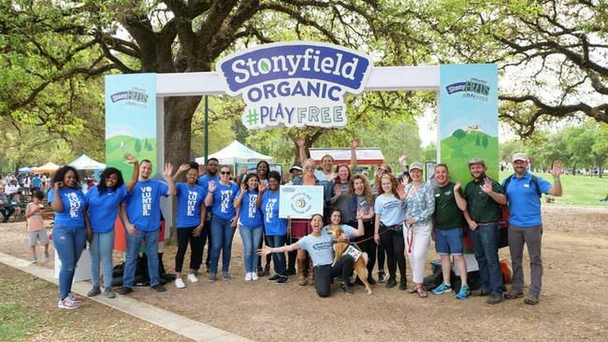Representatives from Stonyfield Organic, Hermann Park Conservancy and Walmart gathered during Houston's Kite Festival on Sunday to celebrate the transition of areas of Hermann Park to organic maintenance practices. The move comes as part of Stonyfield's #PlayFree initiative, which aims to help convert public parks and playing fields across the country to organic grounds management to ensure community spaces are free from the use of harmful pesticides.