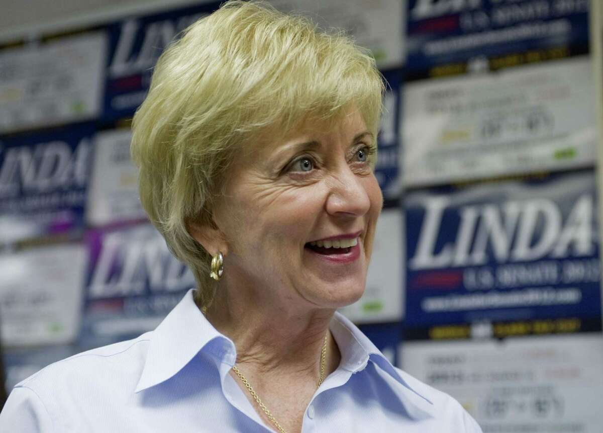 Then-Republican candidate for U.S. Senate Linda McMahon smiles at a grand opening for her Farmington office. Linda McMahon has left the Small Business Administration.