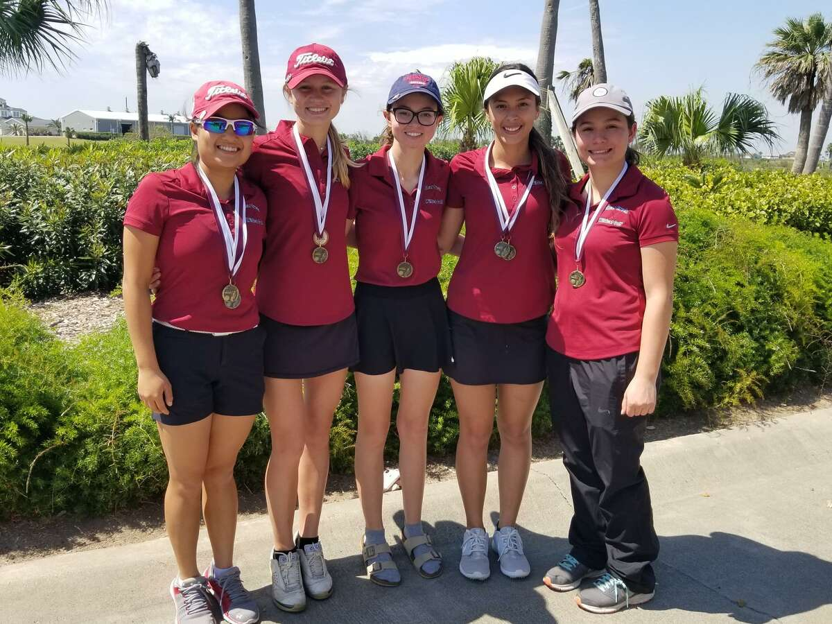 The Clear Creek girls' golf team cruised to the District 24-6A title, winning by 19 strokes. Team members are (left to right) Trinity Lee, Caroline Singletary, Peyton Galyean, Ana Vallejo and Bianca Zamora.