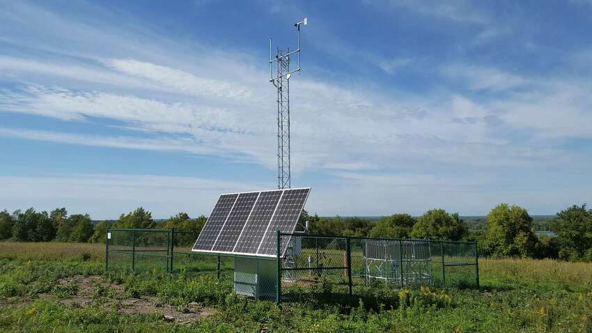 A weather sensor in the state mesonet in Fayetteville, Onondaga County, is among 126 spread across the state. State electrical grid planners are using data from the network to better predict when solar elecricity output will ebb and flow. (Photo provided by University at Albany)