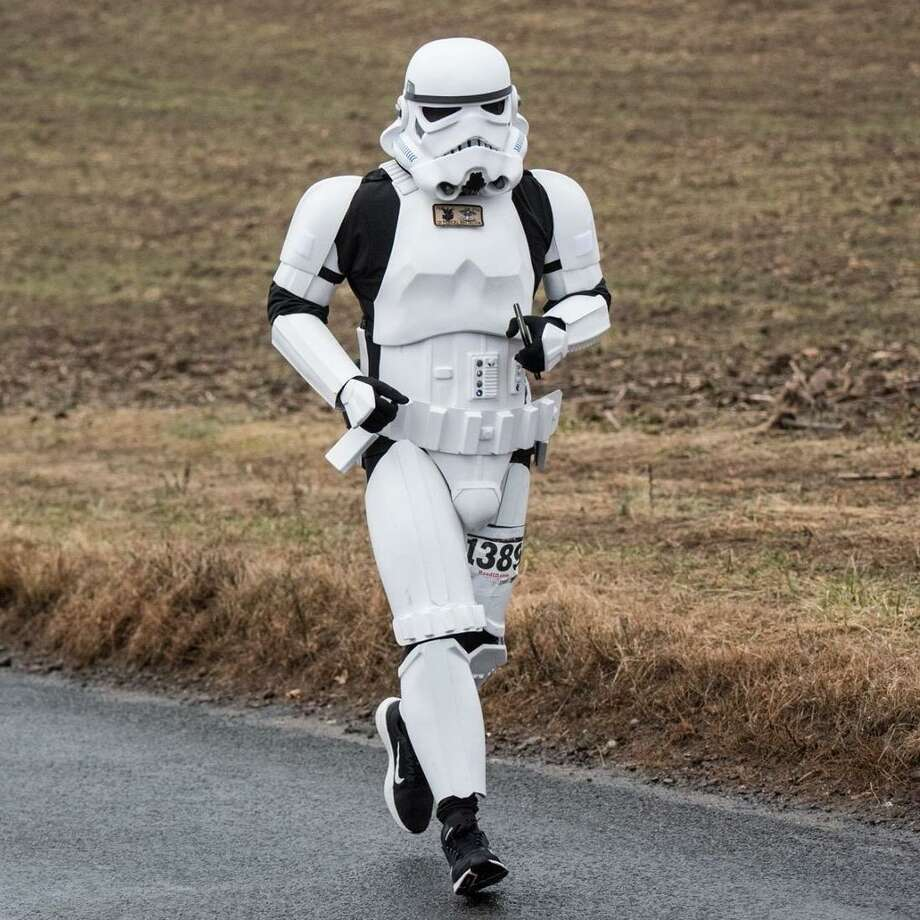 New London-stationed military officer Jeff Priela will speak about his experiences running races dressed as an Imperial Star Wars Stormtrooper April 9 at the Russell Library in Middletown. Priela, a gay member of the U.S. Navy, uses the platform to increase awareness of LGBTQ and veteran issues, as well as raise funds for immigrant and refugee causes. Photo: Contributed Photo
