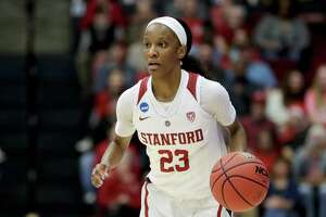 Stanford guard Kiana Williams plays during a first-round game against UC Davis in the NCAA women's college basketball tournament in Stanford, Calif. Saturday, March 23, 2019. (AP Photo/Chris Carlson)