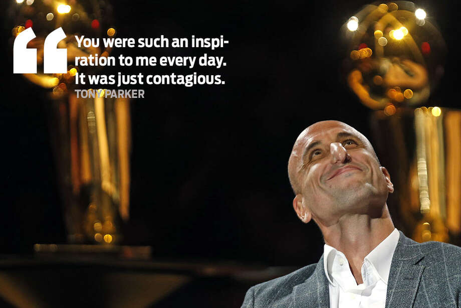 Memorable quotes from Manu Ginobili's jersey retirement ceremony. Photo: Ronald Cortes/Getty Images