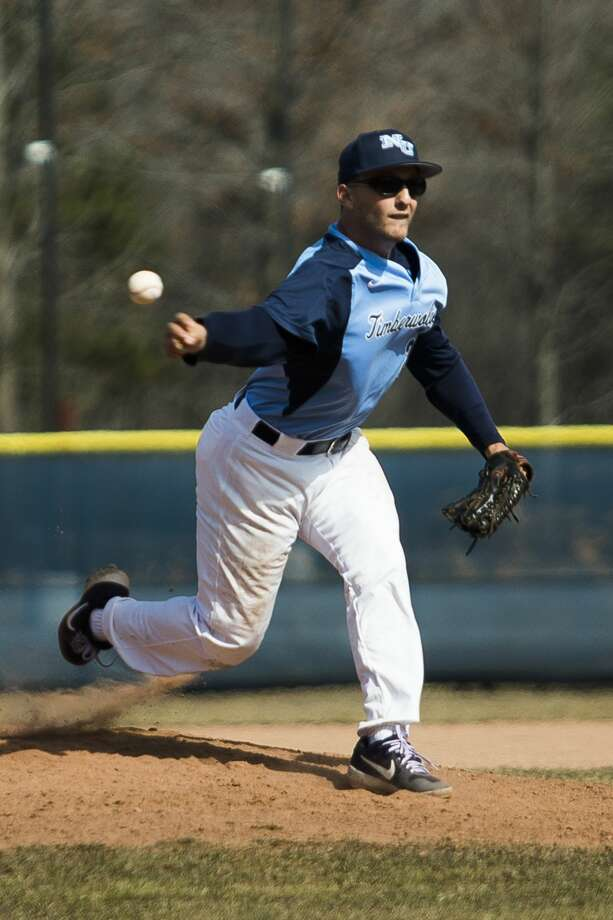 Northwood's Peter Joseph pitches the ball during a doubleheader against Wayne State on Friday, March 29, 2019 at Northwood University. (Katy Kildee/kkildee@mdn.net) Photo: (Katy Kildee/kkildee@mdn.net)