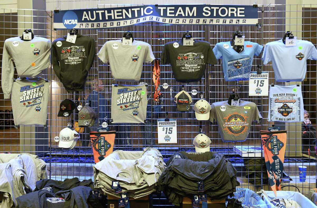 NCAA Final Four merchandise is for sale in the lobby before the game between UConn and UCLA in a semifinal for the Albany Regional of the NCAA Women's Basketball Championship at the Times Union Center on Friday, March 29, 2019 in Albany, N.Y. (Lori Van Buren/Times Union)