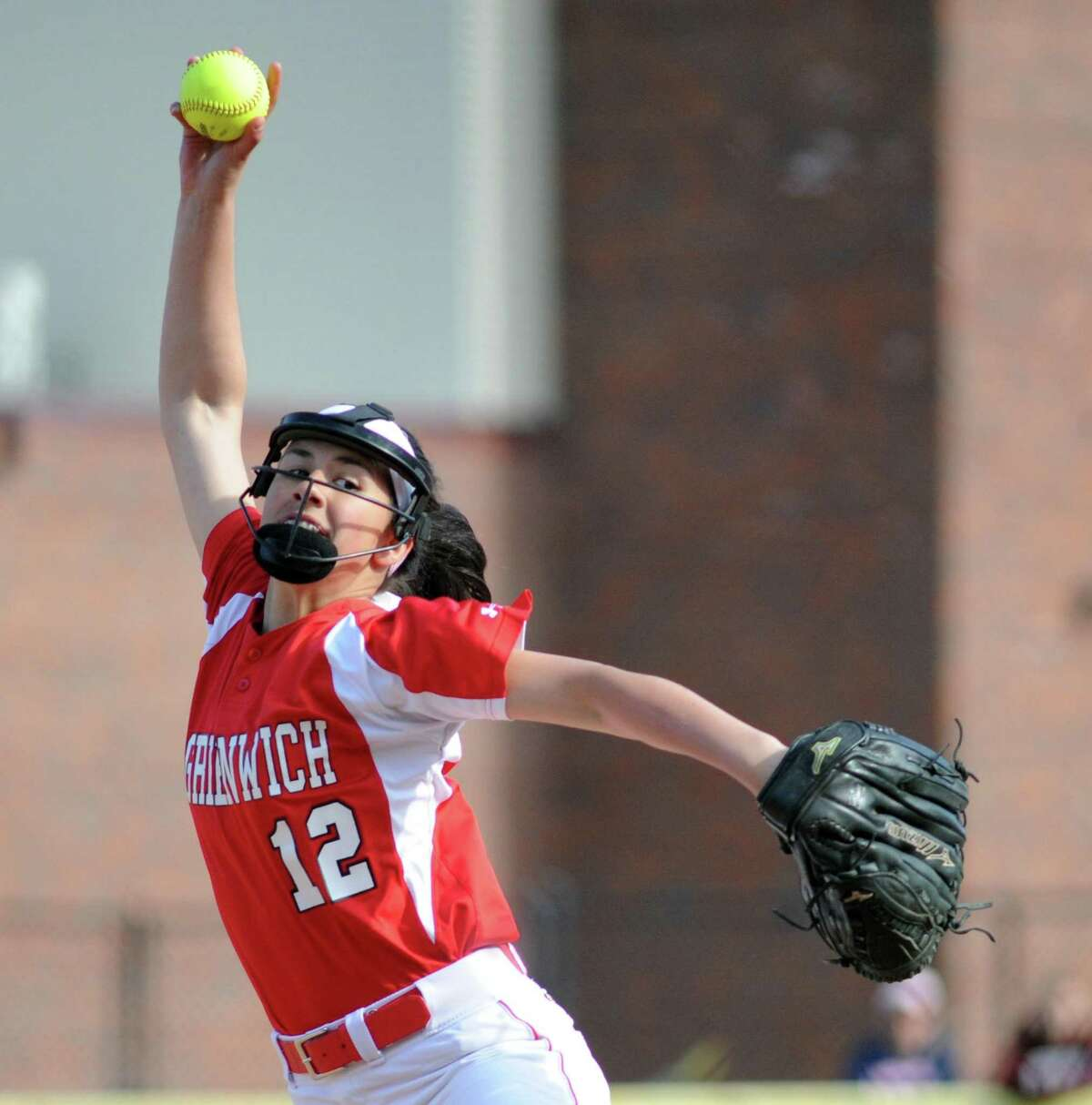 Greenwich pitcher Sophia Prieto throws during the high school softball game between Greenwich High School and Brien McMahon High School at Greenwich, Conn., Thursday, April 13, 2017.
