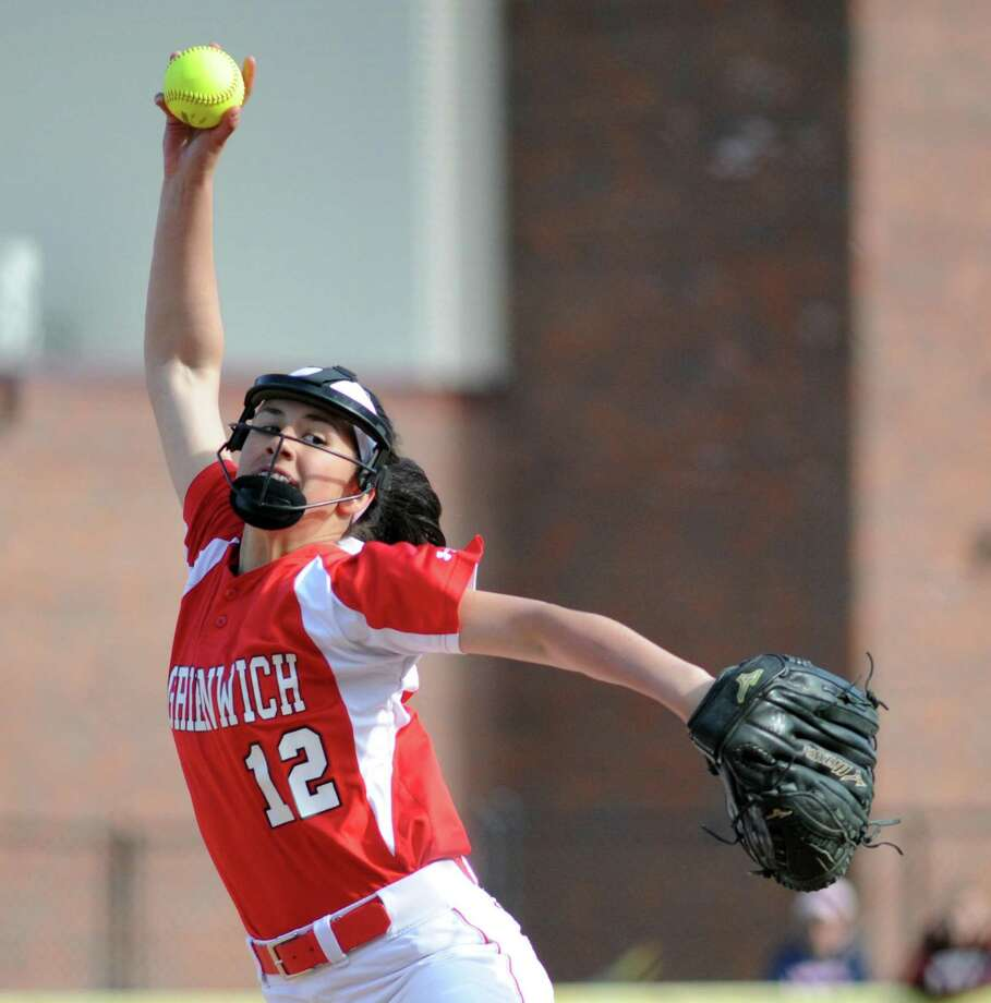 Greenwich pitcher Sophia Prieto throws during the high school softball game between Greenwich High School and Brien McMahon High School at Greenwich, Conn., Thursday, April 13, 2017. Photo: Bob Luckey Jr. / Hearst Connecticut Media / Greenwich Time