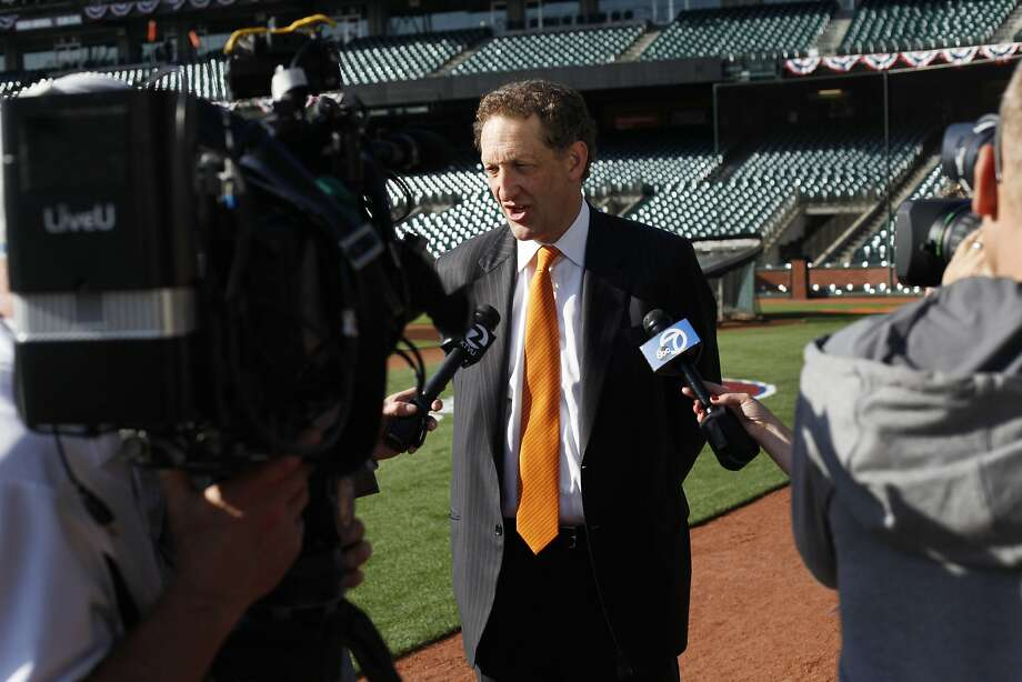 Larry Baer is interviewed on Opening Day in 2014. The Giants CEO won't be there this year because he is serving a suspension. Photo: Pete Kiehart / The Chronicle 2014