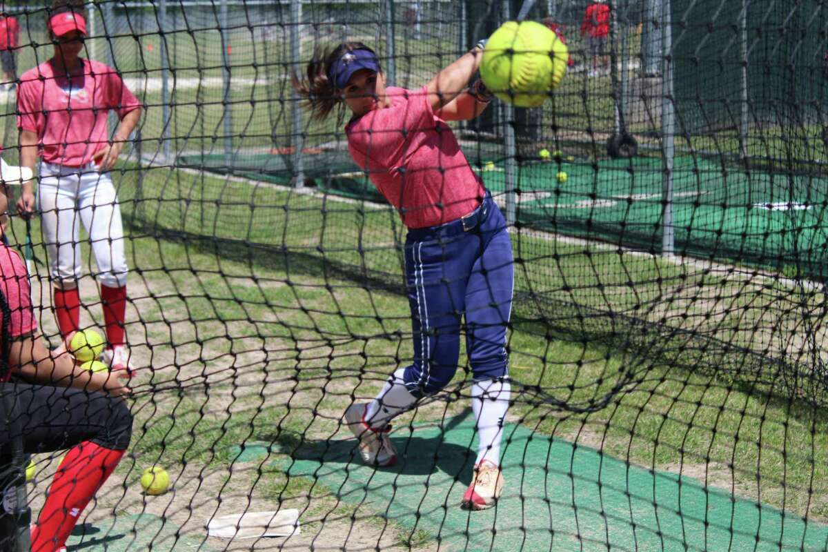 Atascocita's London Marder working in the cage at practice. Marder will play softball at the University of Texas.