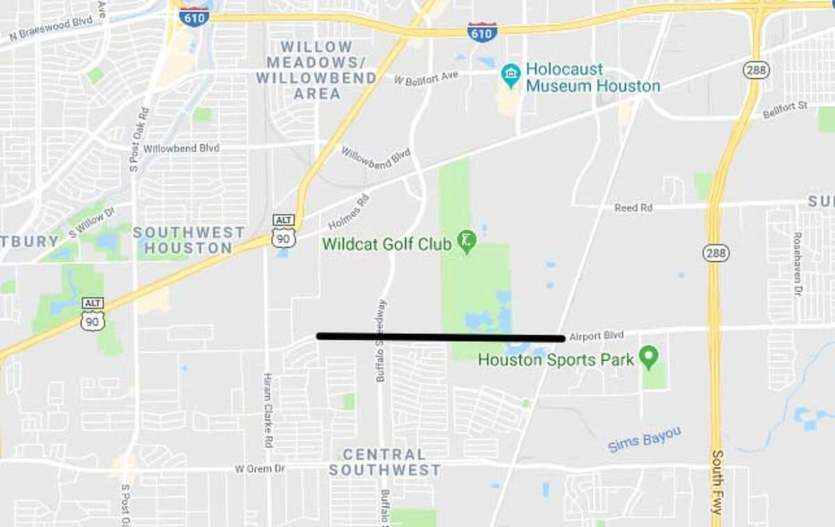 Area: Harris County Project title: Airport Blvd Project limits: From Hiram Clarke Rd to FM 521 Cost estimate: $19.8 million Estimated completion date: October 2019 Description: Widening roadway