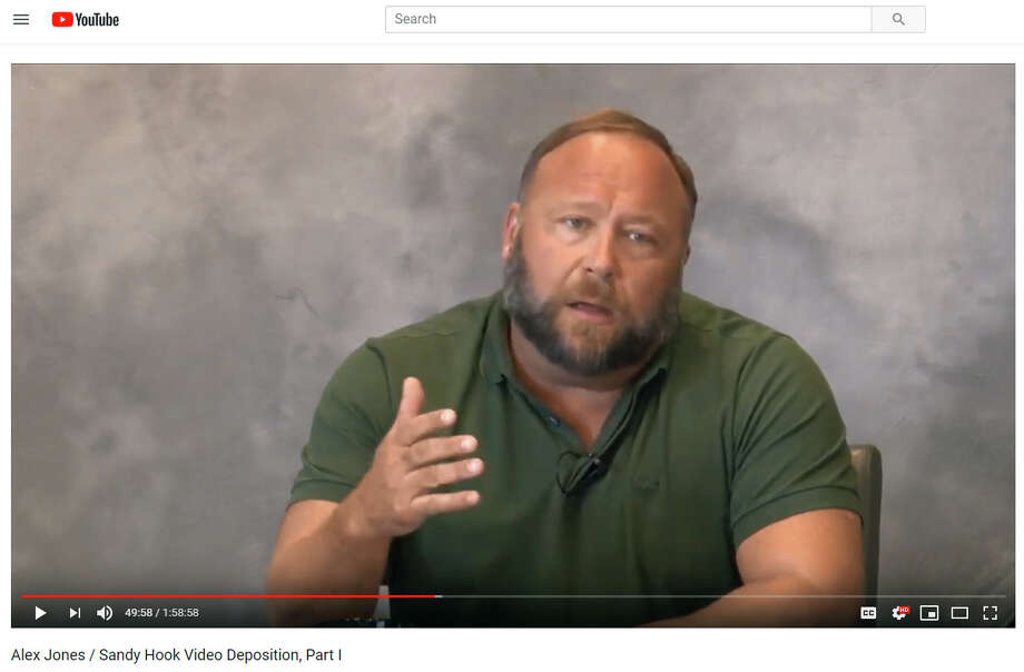 A videotaped deposition of Alex Jones in Lewis v. Jones, taken by attorney Mark Bankston of Kaster Lynch Farrar & Ball, LLP., posted on YouTube on March 29, 2019. Photo: YouTube, Contributed Photo / Connecticut Post Contributed