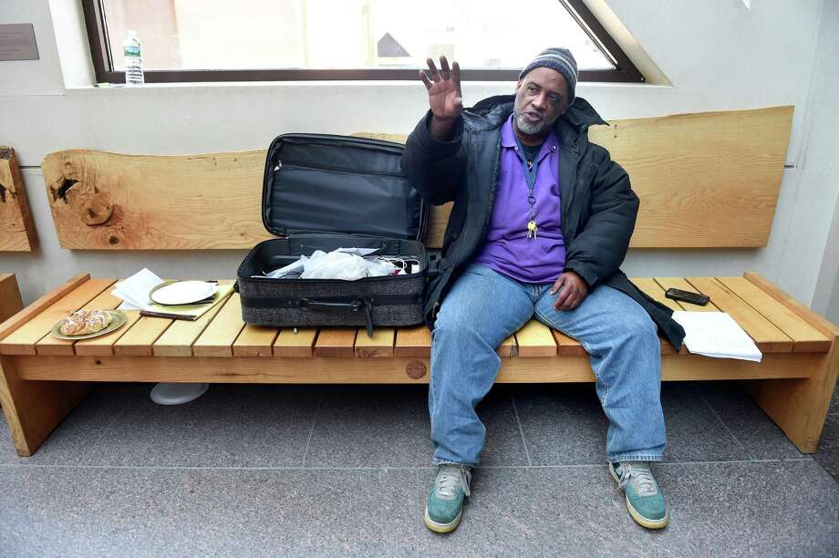 Homeless advocate Clarence Phillips, Jr. on the second floor of New Haven City Hall. Photo: Arnold Gold / Hearst Connecticut Media / New Haven Register