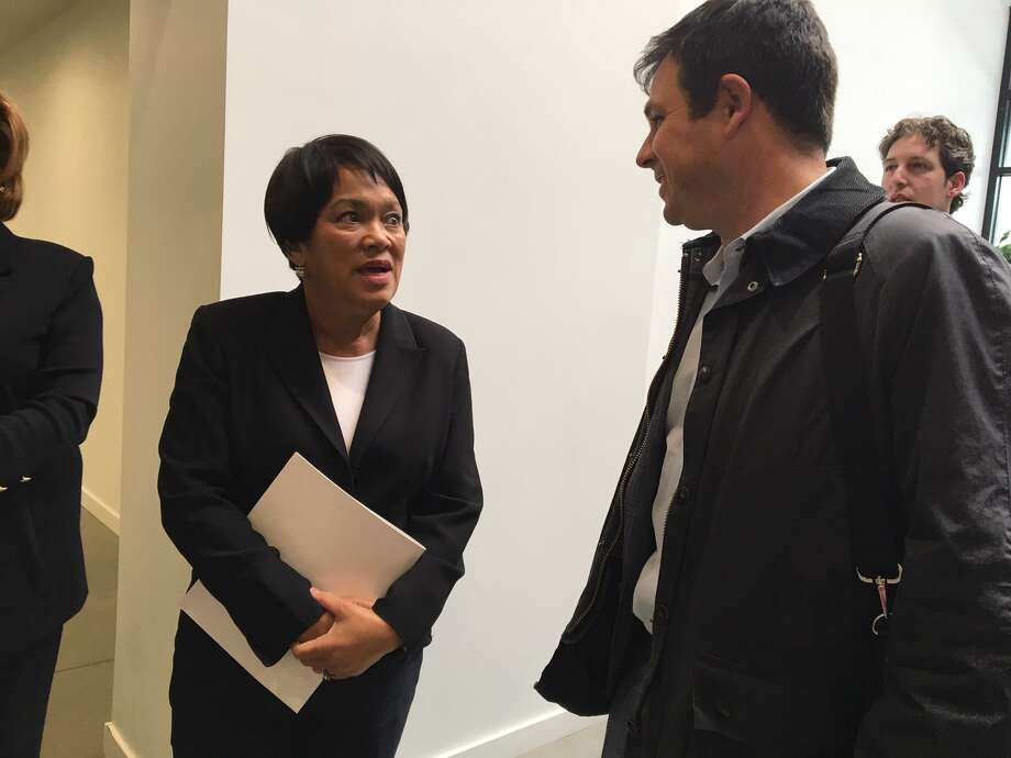 Mayor Toni Harp and DECD Commissioner David Lehman at The District March 29, 2019. Photo: Mary E. O'Leary / Hearst Connecticut Media